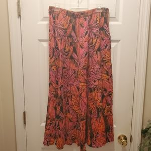 Notations Floral Tiered Maxi Skirt, Sz 1X
